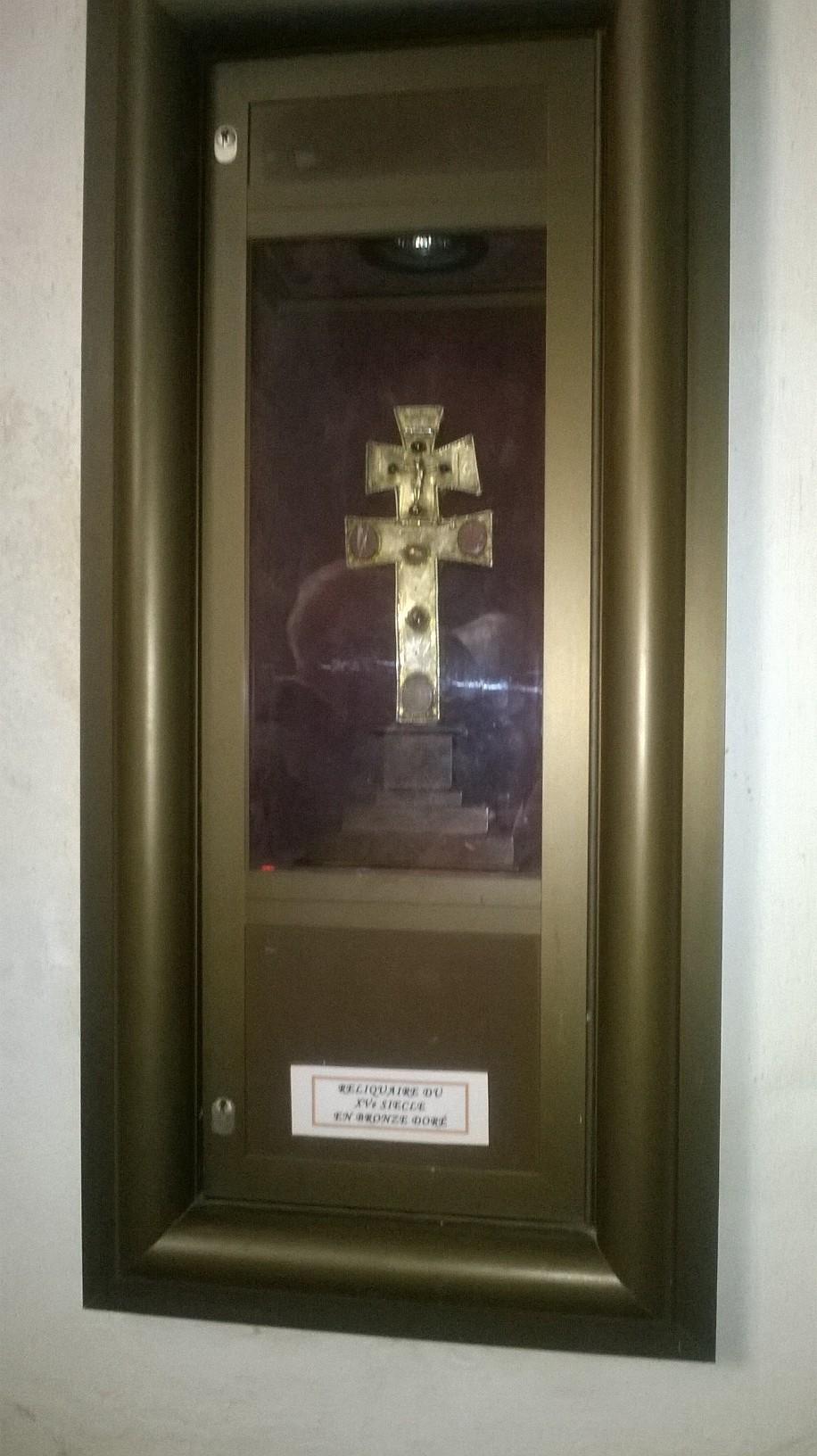 Croix reliquaire du 15ème siècle en bronze doré